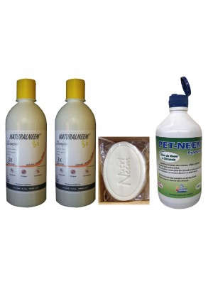 Kit Naturalneem com 2 Shampoos Pet Neem Repelente 250 ml e Sabonete Neem Nim