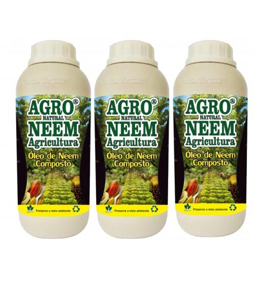 Óleo de Neem Nim Agroneem Naturalneem Agrícola Composto 3 Litros