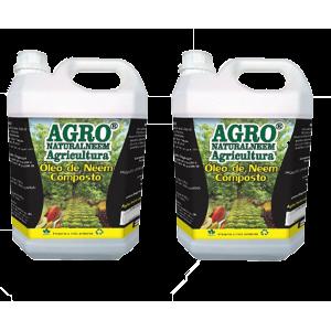 Óleo de Neem Nim Agroneem Naturalneem Agrícola Composto Kit com 02 Galões de 5 L