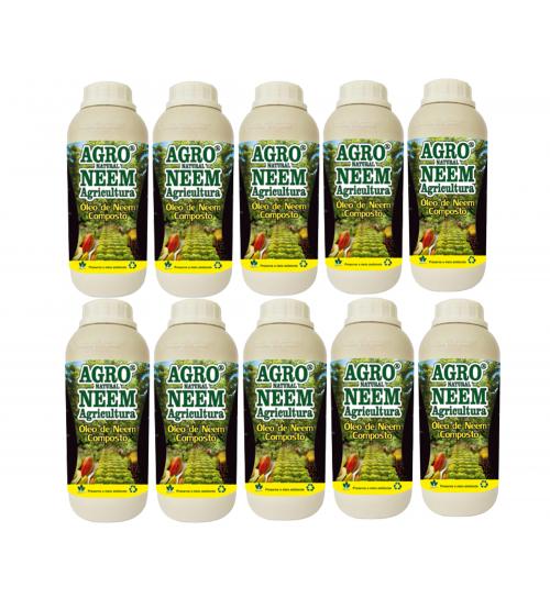 Óleo de Neem Nim Agroneem Naturalneem Agrícola Composto Kit com 10 Litros