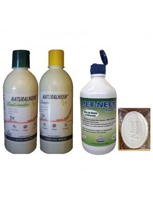 Kit Naturalneem com Shampoo Condicionador Pet Neem Repelente 250 ml e Sabonete Neem Nim